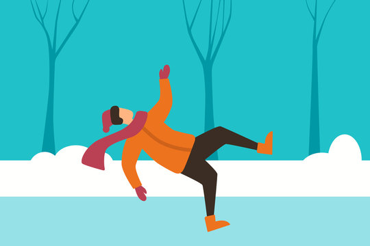 The man slipped on the street and falls. Winter accident. Flat design. Vector illustration