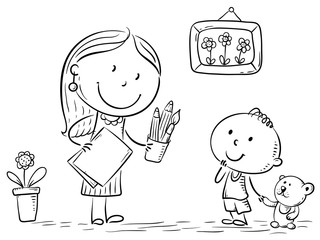 Wall Mural - Teacher or mother encouraging the kid to draw, illustration.