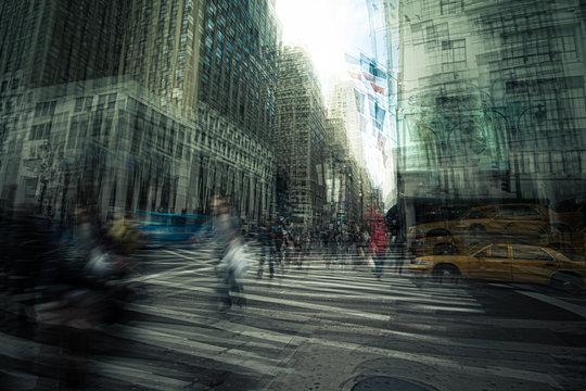 Original artist graphic New York City street scene photo manipulation