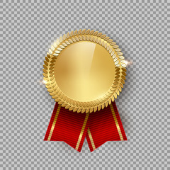 Award medal 3d realistic vector color illustration. Reward. Golden medal with red ribbon. Certified product. Quality badge, emblem on transparent background. Winner trophy. Isolated design element.