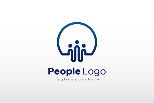 Connecting People Logo. Flat Vector Logo Design Template Element