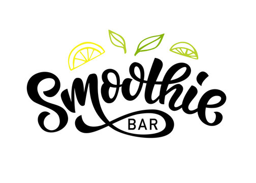 Smoothie bar vector logo badge, Healthy drinks calligraphy logotype