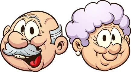 Grandparents grandmother and grandfather heads with smiles clip art. Vector  cartoon illustration with simple gradients. Each in a separate layer.