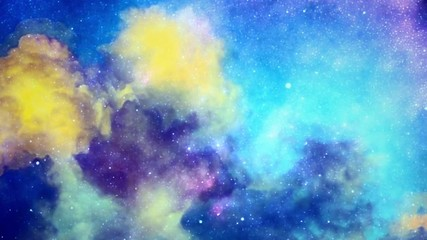 Fototapete - Colorful clouds and stars in sky