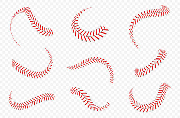 Baseball ball laces or seams set. Baseball stitches with red threads