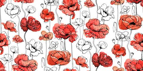 Motif décoratif floral sans couture avec des fleurs rouges et des bourgeons. Coquelicots, shirley, chancre rose, Papaver. Texture printanière sans fin pour votre design, vos tissus, votre décor. Illustration graphique à l& 39 aquarelle.