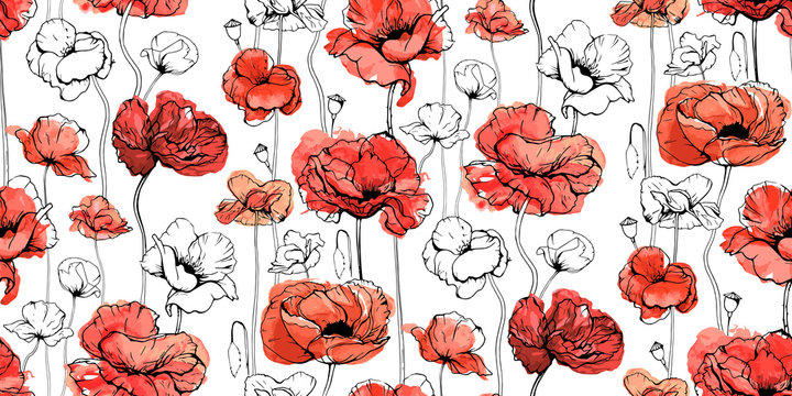 Seamless floral decorative pattern with red flowers and buds. Poppies, shirley, canker rose, Papaver. Endless spring texture for your design, fabrics, decor. Graphic illustration with watercolour.