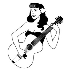 Beautiful pin-up girl playing guitar isolated on white background. Vector Illustration