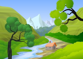 Wall Murals Lime green house on the hill