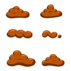 A Collection of Brown Cartoon Poo Poop Faeces