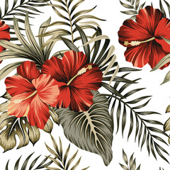Tropical vintage red hibiscus floral green palm leaves seamless pattern white background. Exotic Hawaiian jungle wallpaper.