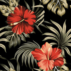 Tropical vintage red hibiscus floral green palm leaves seamless pattern black background. Exotic Hawaiian jungle wallpaper.