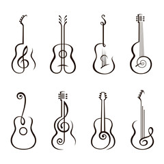 collection of classical acoustic guitar isolated on white background