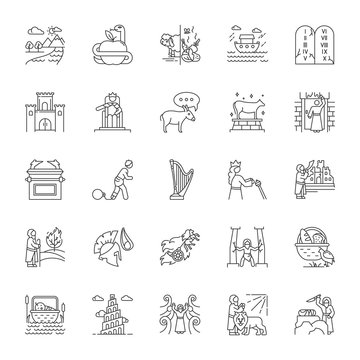 Bible narratives linear icons set. Noah Ark, Babel tower. Moses, God myths. Religious legends. Biblical stories. Thin line contour symbols. Isolated vector outline illustrations. Editable stroke