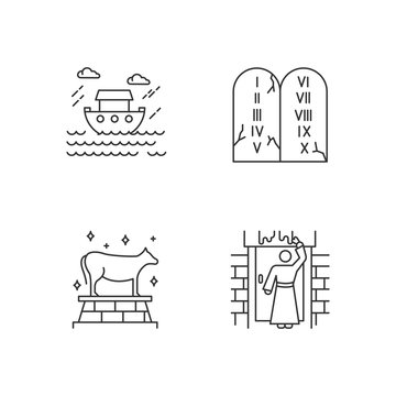 Bible narratives linear icons set. The passover, the flood myths, ten commandments. Biblical stories plot. Thin line contour symbols. Isolated vector outline illustrations. Editable stroke
