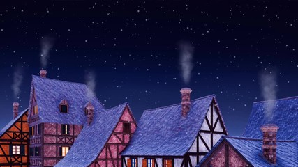 Wall Mural - Tiled roofs of traditional half-timbered european houses with smoke from its chimneys against starry sky at winter night during snowfall. 3D animation background for Xmas or New Year rendered in 4K