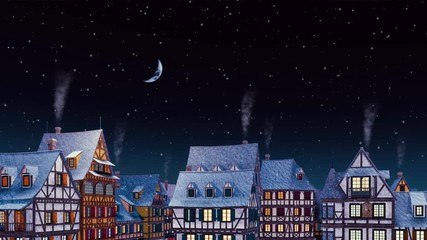 Wall Mural - Rooftops with smoking chimneys of traditional half-timbered european houses at cozy medieval town under night sky with half moon at snowfall winter night. Dreamlike scene 3D animation rendered in 4K