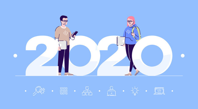 Professions 2020 flat banner vector template. Programmers isolated cartoon characters on blue. Software developers. People with laptops. Banner, brochure page, leaflet design layout, place for text