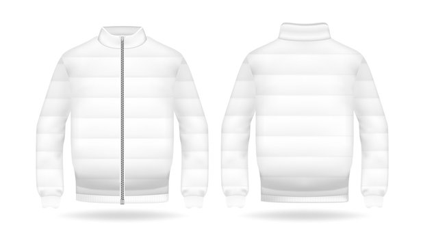 Realistic mockup of jacket or puffer coat. Men's and women's Jacket with long sleeves. Clothes in light, white colors. Template warm apparel with zipping. Front and back view