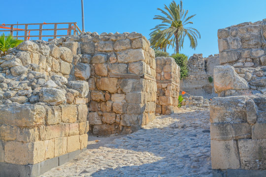 Canaanite City Gate at the City of megiddo in Tel Megiddo National Park. Megiddo, Israel, Asia