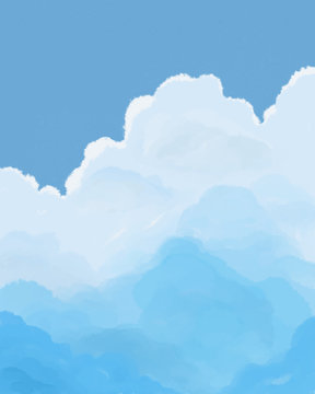 clouds in the blue sky watercolor art with space for text and copy