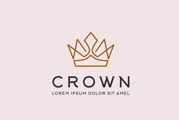 Vintage royal gold crown logo design vector template. King and queen geometric lotus flower