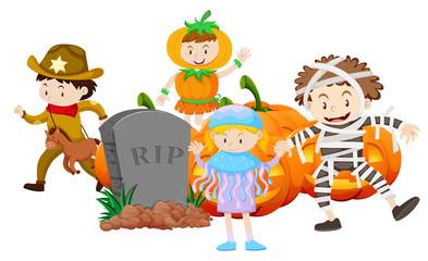 Children in different halloween costume