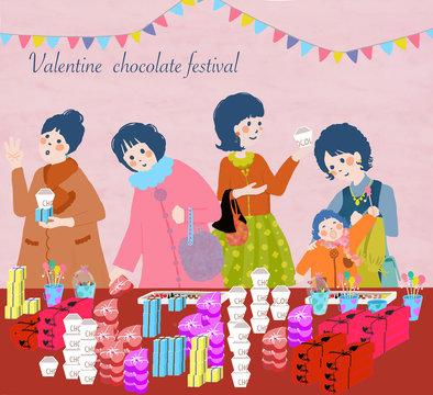 バレンタイン,バレンタインデー,チョコレート,売り場,フェア,特設会場,人物,手書き