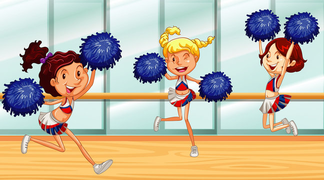 Three cheerleaders dancing in the room