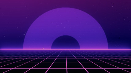 Canvas Prints Violet Retro cyberpunk style 80s Sci-Fi Background Futuristic with laser grid landscape. Digital cyber surface style of the 1980`s. 3D illustration