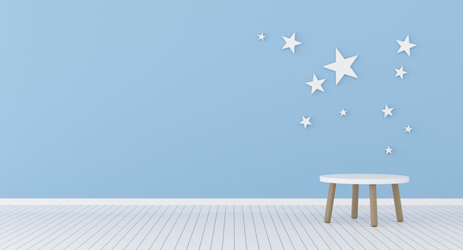 View of kids living room with round side table on blue wall with stars background. 3d rendering.