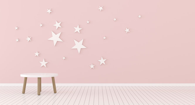 View of kids living room with round side table on pink wall with stars background. 3d rendering.