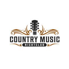 Classic country music, guitar vintage retro logo design