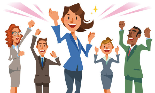 成功したチームワークのコンセプト。リーダーの女性が中心に立ち、仲間たちと喜びを分かち合う。フラットなカートゥーンスタイルのベクターイラストレーション。