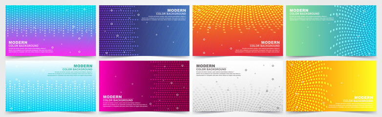 collection of colorful gradient banners with geometric textures and abstract lines.  Fototapete