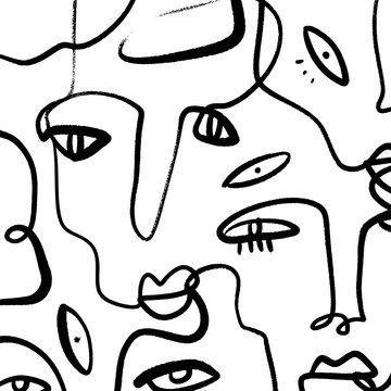 Abstract Fashion Artistic Portrait Painted Illustration Of People Faces Silhouette Group Pattern One Line Drawing Abstraction Modern Aesthetic Print Minimalism Interior Contour Handdrawn Lineart Conti