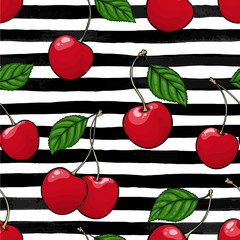 Fototapeta seamless pattern red cherry with leaf on black and white watercolor stripes. design holiday greeting card and invitation of seasonal summer holidays, beach parties, tourism and travel obraz