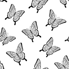Photo sur Aluminium Papillons dans Grunge Beautiful seamless background of butterflies black and white colors. design greeting card and invitation of the wedding, birthday, Valentine s Day, mother s day and other holiday.