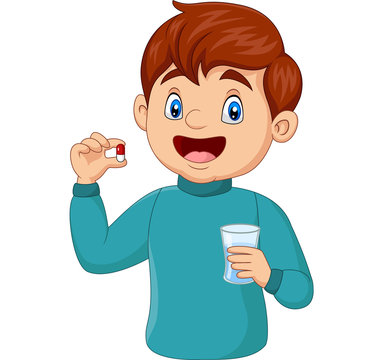 Cartoon boy holding a pill and a glass of water