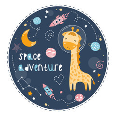Deurstickers Bestsellers Kids Cute giraffe in space.