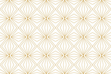Pattern geometric line abstract gold luxury color seamless on white background.