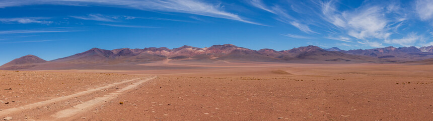 Panoramic view of a track on the altiplano in Bolivia Wall mural