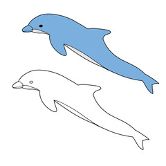 Photo sur Aluminium Dauphins coloring book, dolphin is swimming