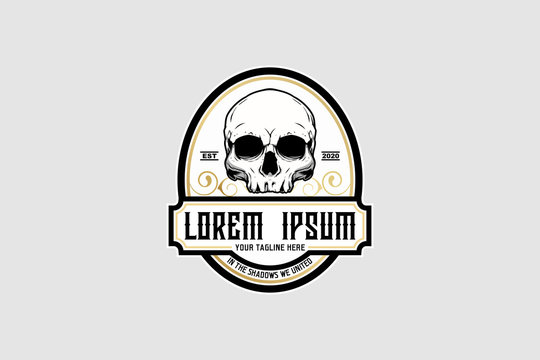 old school style skull vector crest logo template
