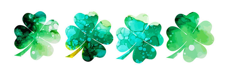 Set of watercolor four-leaf clovers. Happy St. Patrick's Day. mixed media. Vector illustration Wall mural