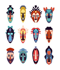 African mask. Colorful ethnic tribal ritual masks of different shapes, ceremonial hawaiian, aztec tiki totem indigenous flat vector set. Illustration ethnic and african mask tribal face