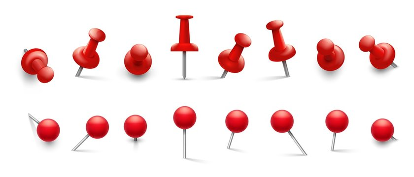 Red thumbtack. Push pins in different angles for attachment. Pushpins with metal needle and red head isolated vector set. Illustration thumbtack attach, office pushpin for paper