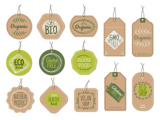 Fototapeta Organic cardboard labels. Eco paper badges, green farm nature product price shop tags with ecologic emblems. Vintage bio vector set. Illustration eco natural vegan cardboard, label market for product obraz