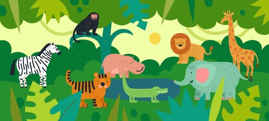 Jungle with animals. Zebra, monkey and hippo, tiger and crocodile, elephant and lion, giraffe with tropical plants. Vector kids background. Jungle life fauna, crocodile and hippo illustration