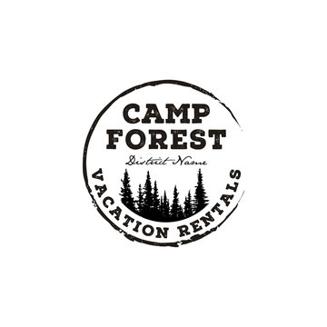Fir Pines Evergreen tree outdoor adventure camp. Forest vintage retro rustic hipster stamp logo design